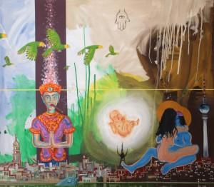 Davidskind, Öl, Acryl, Kohle, Platine und Plastik auf Leinwand, Collage, 2013, 140x160 cm